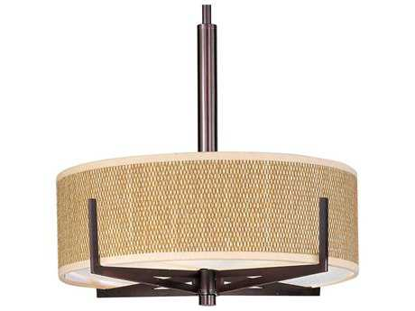 ET2 Elements Oil Rubbed Bronze & Grass Cloth Three-Light 16'' Wide Incandescent Pendant Light