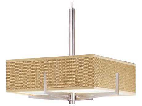 ET2 Elements Satin Nickel & Grass Cloth Three-Light 16'' Wide Incandescent Pendant Light