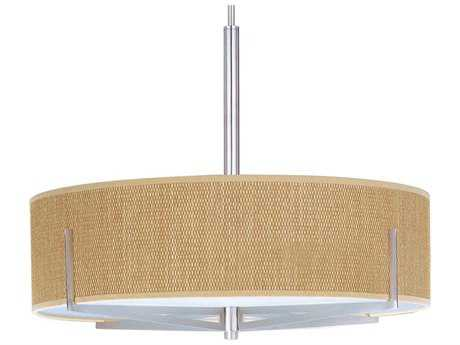ET2 Elements Satin Nickel & Grass Cloth Four-Light 26'' Wide Fluorescent Pendant Light