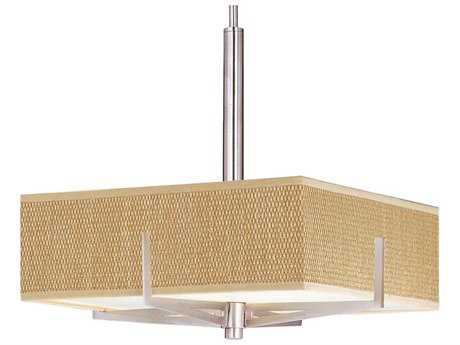ET2 Elements Satin Nickel & Grass Cloth Three-Light 16'' Wide Fluorescent Pendant Light