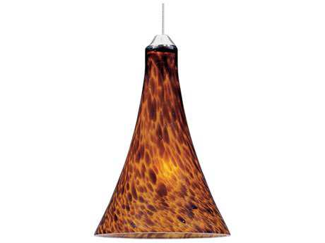 ET2 Leopard Satin Nickel & Amber Glass 5'' Wide Rapid Jack Mini-Pendant Light