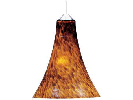 ET2 Leopard Satin Nickel & Amber Glass 7'' Wide Rapid Jack Mini-Pendant Light