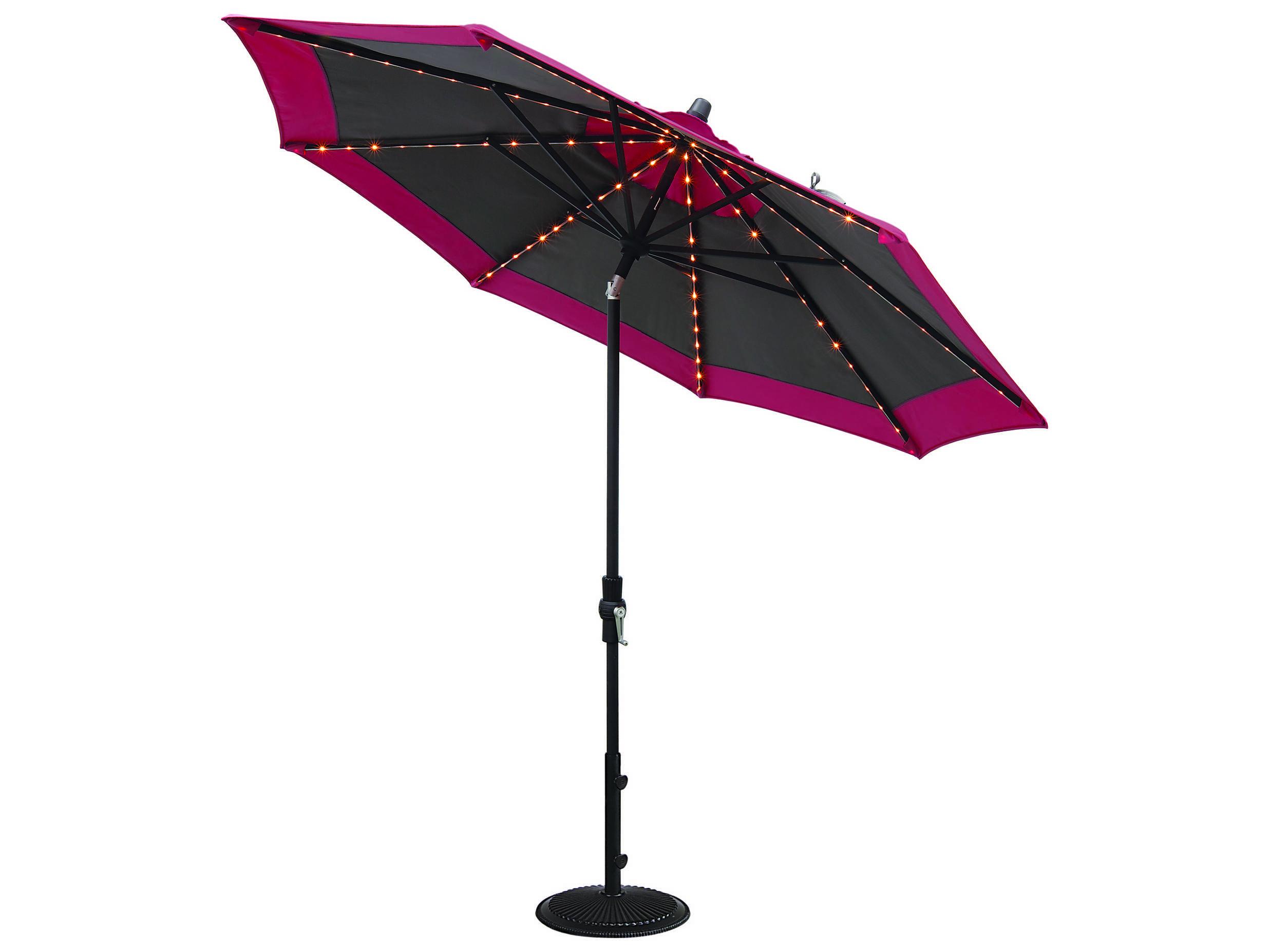 Treasure Garden Quick Ship Market Aluminum 9 Foot Collar Tilt Crank Lift Starlight Umbrella