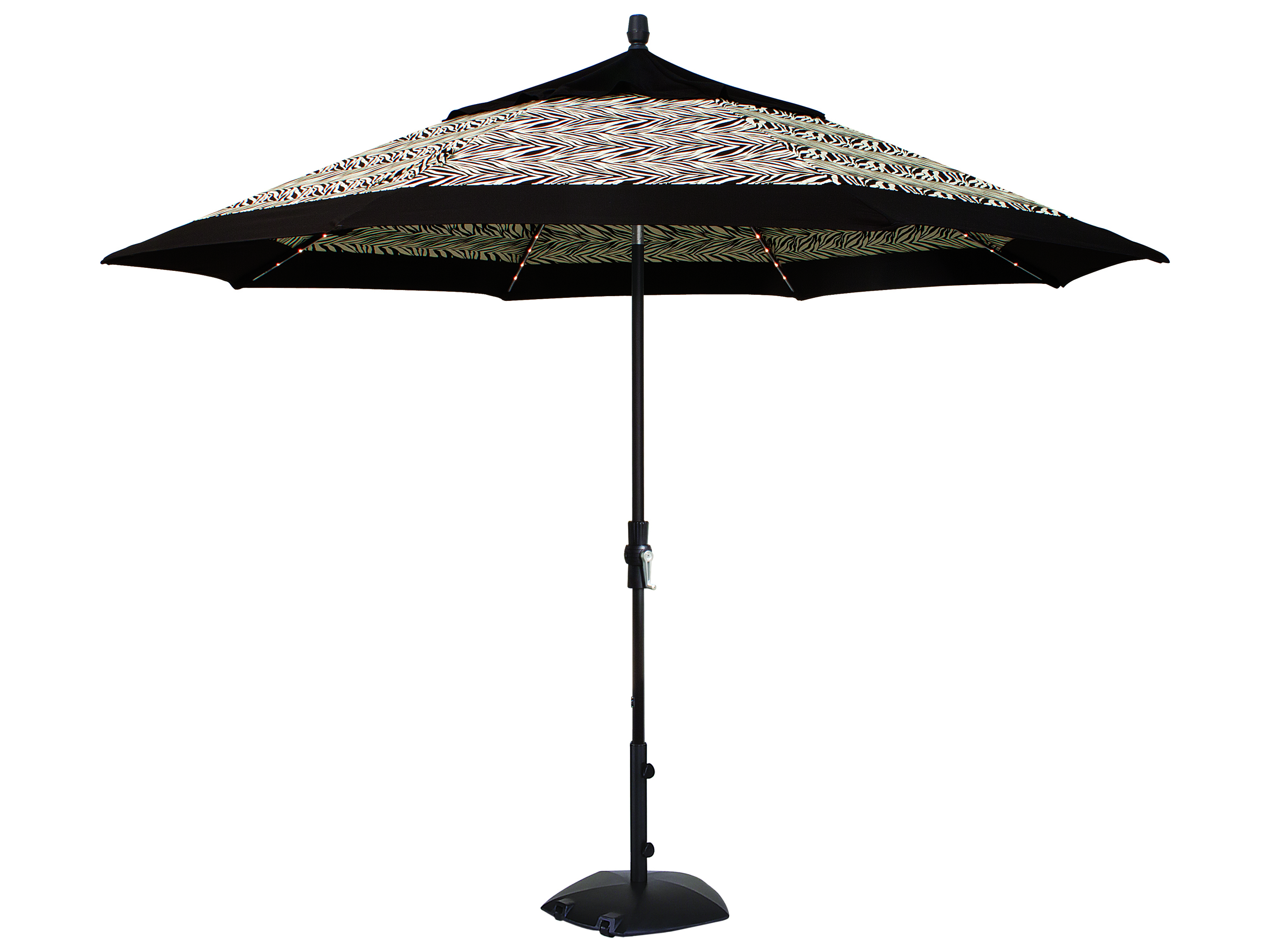 Treasure Garden Market Aluminum 11 Foot Starlight Crank Lift Collar Tilt Umbrella Um801sl