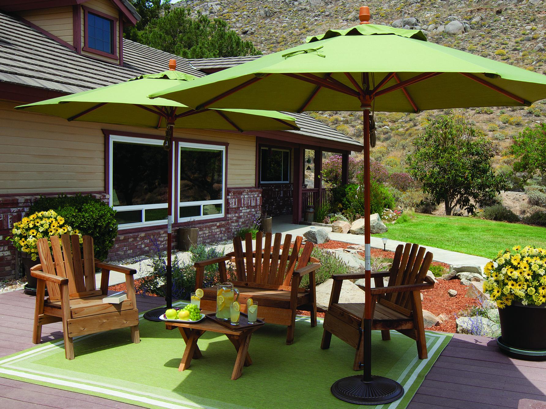 treasure garden market wood 9 39 octagon pully lift umbrella