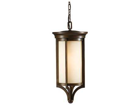 Feiss Merrill Heritage Bronze 9.38'' Wide LED Outdoor Hanging Pendant Light with Creme Etched Glass Shade
