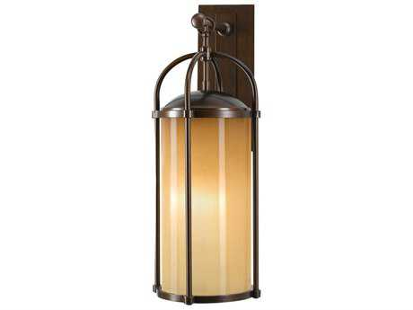 Feiss Dakota Heritage Bronze 9.5'' Wide LED Outdoor Wall Sconce with Aged Oak Glass Shade