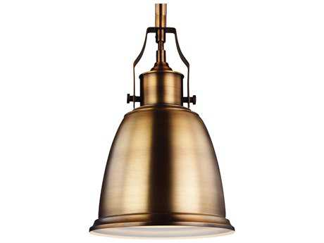 Feiss Hobson Aged Brass 7.5'' Wide Mini-Pendant with Metal Shade