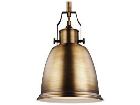 Feiss Hobson Aged Brass 9.5'' Wide Pendant Light with Metal Shade