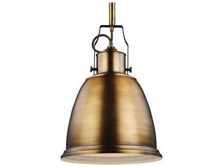 Feiss Hobson Aged Brass 14'' Wide Pendant Light with Metal Shade