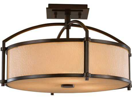 Feiss Preston Heritage Bronze Three-Light 16'' Wide Semi-Flush Mount with Bark Texture with Amber Etched Glass Shade