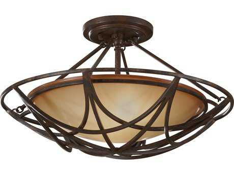 Feiss El Nido Mocha Bronze Two-Light 18'' Wide Semi-Flush Mount with Striated Ivory Glass Shade