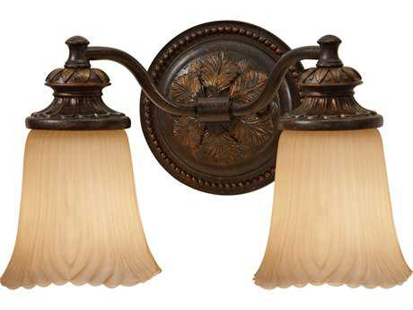 Feiss Emma Grecian Bronze Two-Light 13.5'' Wide Vanity Light with Cream Etched Glass Shade