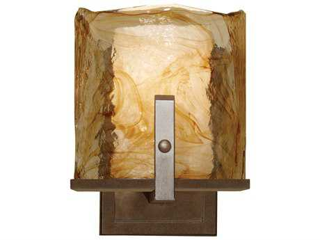 Feiss Aris Roman Bronze 6.38'' Wide Wall Sconce with Amber Alabaster Glass Shade