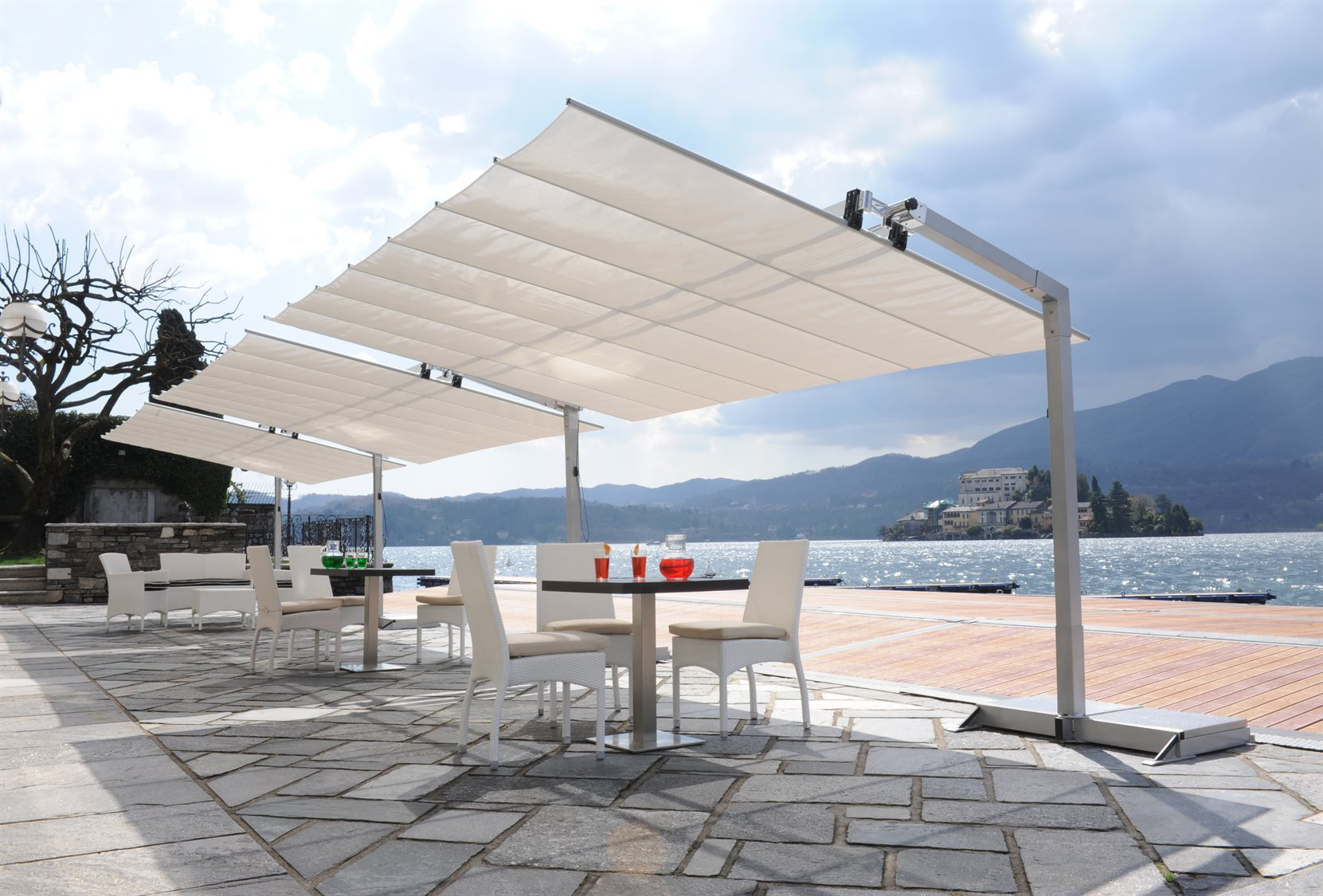 Fim flexy aluminum 8 39 x 12 39 rectangular offset umbrella for Sun shade structure
