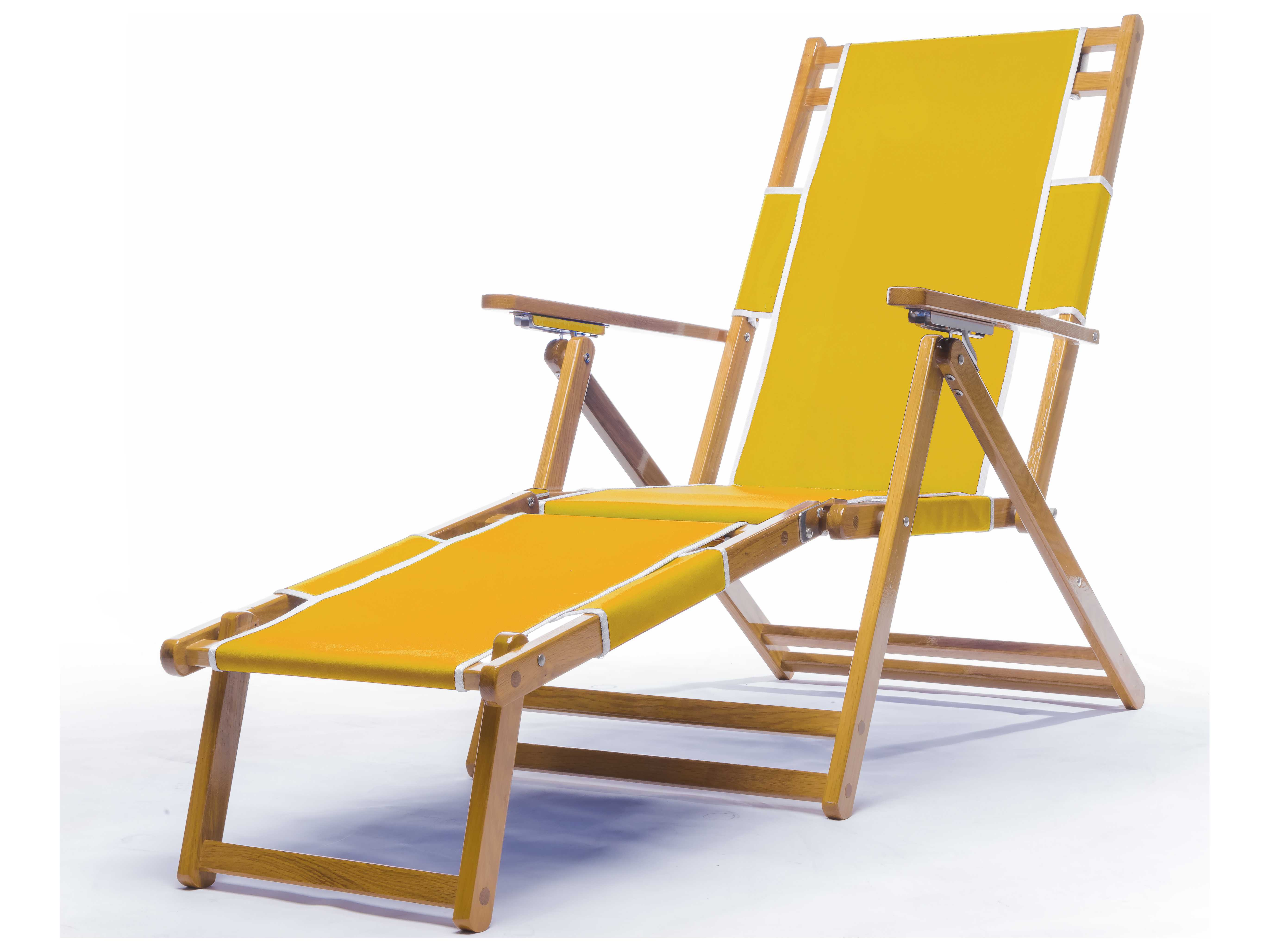 Frankford Umbrellas Wooden Beach Lounge Chair with Footrest
