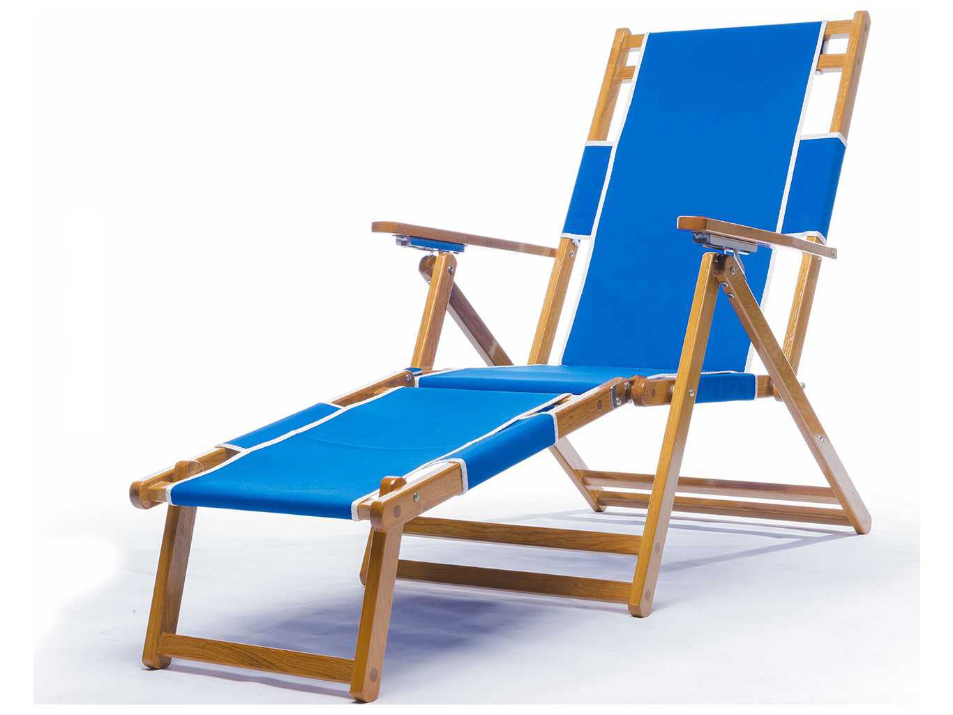 Frankford Umbrellas Oak Wood Beach Lounge Chair with Foot