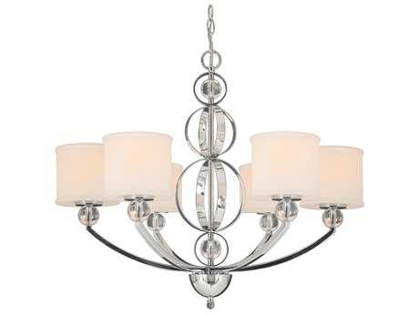 Golden Lighting Cerchi Chrome Six-Light 28.5'' Wide Chandelier with Etched Opal Glass