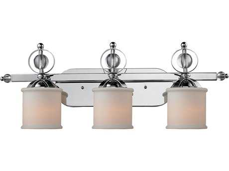 Golden Lighting Cerchi Chrome Three-Light Vanity Light with Etched Opal Glass