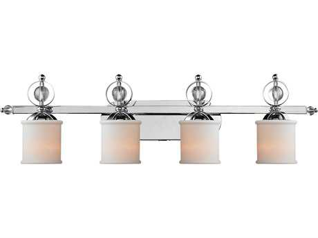 Golden Lighting Cerchi Chrome Four-Light Vanity Light with Etched Opal Glass