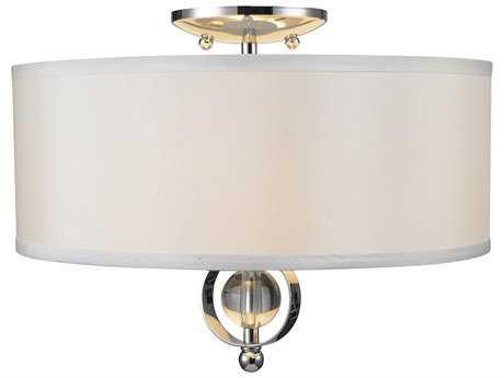 Golden Lighting Cerchi Chrome Two-Light 15'' Wide Semi-Flush Mount Light with Opal Satin Shade