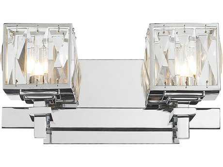 Golden Lighting Neeva Chrome Two-Light Vanity Light with K-5 Crystal Glass
