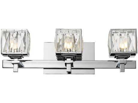 Golden Lighting Neeva Chrome Three-Light Vanity Light with Faceted Crystal Glass