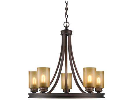 Golden Lighting Hidalgo Sovereign Bronze Five-Light 27.5'' Wide Chandelier with Regal Glass