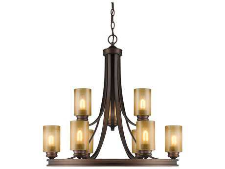 Golden Lighting Hidalgo Sovereign Bronze Nine-Light 32'' Wide Chandelier with Regal Glass
