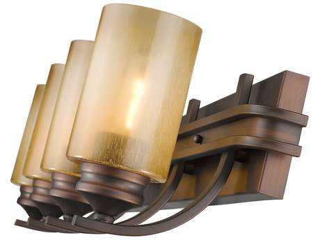 Golden Lighting Hidalgo Sovereign Bronze Four-Light Vanity Light with Regal Glass