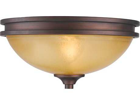 Golden Lighting Hidalgo Sovereign Bronze Two-Light 12.5'' Wide Semi-Flush Mount Light with Regal Glass