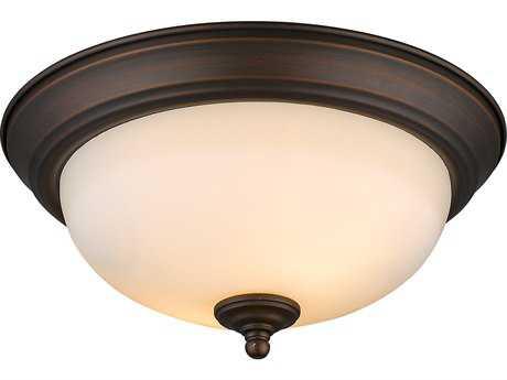 Golden Lighting Multi-Family Rubbed Bronze Two-Light 11'' Wide Semi-Flush Mount Light with Opal Glass