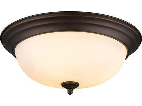 Golden Lighting Multi-Family Rubbed Bronze Three-Light 15'' Wide Semi-Flush Mount Light with Opal Glass