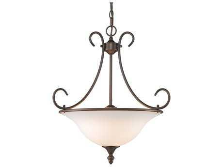 Golden Lighting Centennial Rubbed Bronze Three-Light 20'' Wide Pendant Ceiling Light with Opal Glass