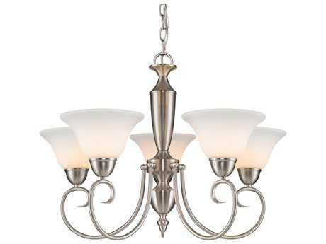 Golden Lighting Centennial Pewter Five-Light 25.5'' Wide Standard Chandelier with Opal Glass