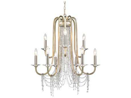 Golden Lighting Sancerre White Gold Nine-Light 29.88'' Wide Chandelier