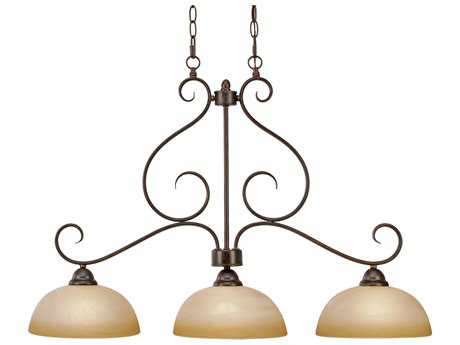 Golden Lighting Riverton Peppercorn Three-Light 35.5'' Wide Island Light with Linen Swirl Glass
