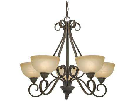 Golden Lighting Riverton Peppercorn Five-Light 29.5'' Wide Chandelier with Linen Swirl Glass