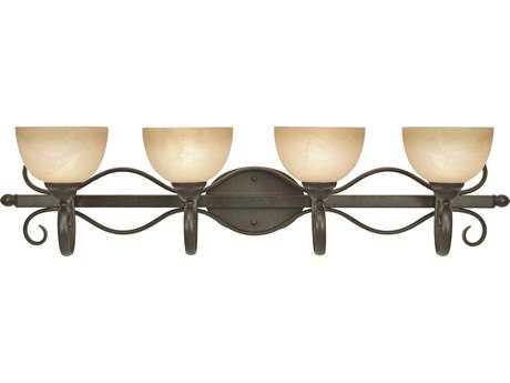 Golden Lighting Riverton Peppercorn Four-Light Vanity Light with Linen Swirl Glass