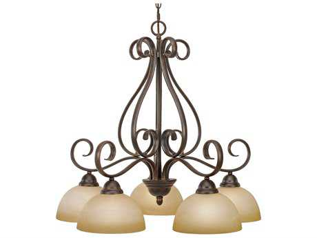 Golden Lighting Riverton Peppercorn Five-Light 27'' Wide Chandelier with Linen Swirl Glass