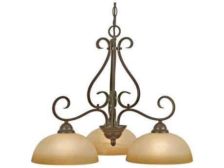 Golden Lighting Riverton Peppercorn Three-Light 25.5'' Wide Chandelier with Linen Swirl Glass