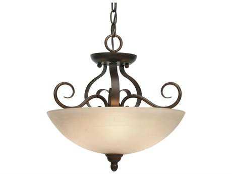 Golden Lighting Riverton Peppercorn Three-Light 14.5'' Wide Convertible Pendant / Semi-Flush Mount Light with Linen Swirl Glass