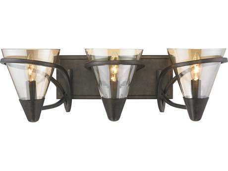 Golden Lighting Olympia Burnt Sienna Three-Light Vanity Light with Baltic Amber Glass