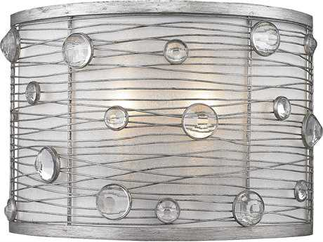Golden Lighting Joia Peruvian Silver Two-Light Wall Sconce with Sterling Mist Shade