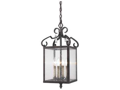Golden Lighting Valencia Fired Bronze Four-Light 10.5'' Wide Pendant Ceiling Light with Seeded Glass