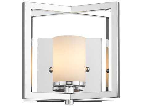 Golden Lighting Baxley Chrome Wall Sconce with Cased Opal Glass