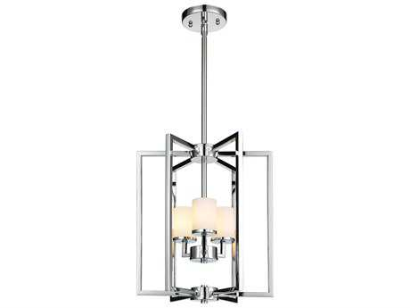 Golden Lighting Baxley Chrome Three-Light 13.5'' Wide Chandelier with Cased Opal Glass