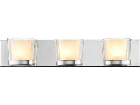 Golden Lighting Vanora Chrome Three-Light Vanity Light with Clear Glass / Opal Diffuser