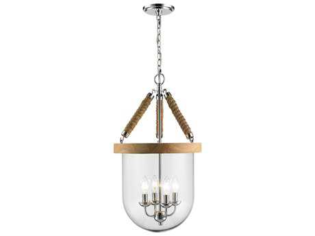 Golden Lighting Harland Chrome Four-Light 14.13'' Wide Pendant Ceiling Light with Clear Glass