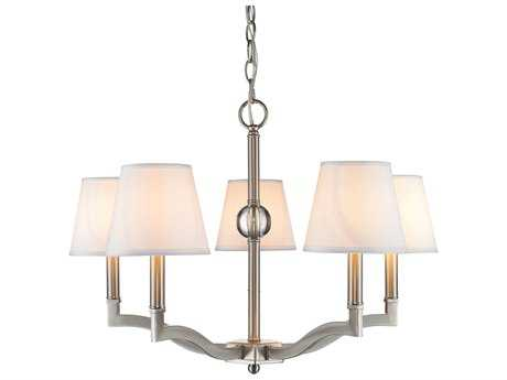 Golden Lighting Waverly Pewter Five-Light 25'' Wide Chandelier with Classic White Shade